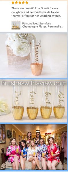 Bridesmaid stemless champagne flutes, hand painted and custom with Their names perfect for your bridesmaid proposal box! Available in gold champagne flutes or rose gold flutes.