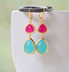 Bridesmaid Jewel Dangle Earrings with Turquoise Teal and Fuchsia Teardrops by RusticGem, $34.00