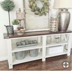 Adorn the entryway with a piece of beauty that has got both storage and style turned into these rustic entry table ideas. way table decor farmhouse style 20 Beautifully Rustic Entry Table Ideas Blending Storage with Decor At Their Best! Hall Table Decor, Rustic Entry Table, Entry Tables, Entryway Decor, Console Tables, Entryway Ideas, Entryway Console, Apartment Entryway, Entry Table Farmhouse