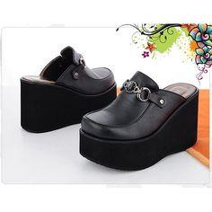 321b7ca235a3 Gem 10cm Wedge Platforms Heels Black Mules Slippers Women Shoes US 5   UK  2.5