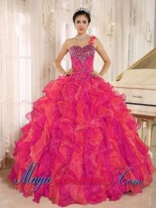 Custom Made Red One Shoulder Beaded Decorate Ruffles Fashion Quinceanera Dress in Spring