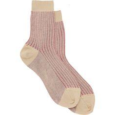 Maria La Rosa Ribbed Socks (1,160 HNL) ❤ liked on Polyvore featuring intimates, hosiery, socks, accessories, shoes, pink, pink socks, ribbed cotton socks, maria la rosa and cotton socks