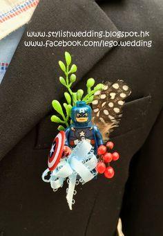 Lego Man Wedding Boutonniere Corsage Marvel Hero by LegoWedding
