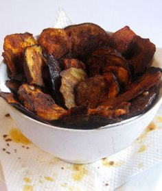 Baked Eggplant Chips with Tahini, Lemon, and Honey Dip