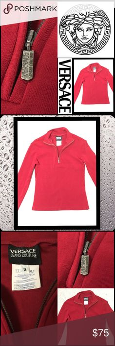 Versace Jeans Italy Top 🇮🇹Versace Made in Italy 🇮🇹 ❤️Vibrant Red V Neck❤️️Size S❤️perfect condition❤️check label for material❤️ Versace Tops