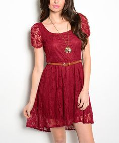 Look at this Wine Lace Belted Fit & Flare Dress on #zulily today!