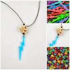 Smykker med nagler: lightening, skulls, necklace