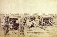 Brazilian artillery commanded by Colonel Mallet during the Paraguayan War, 1866.