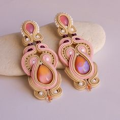 Elegant long peach by Annassa: soutache, leather, beads, glass cabochon, Swarovski Soutache Jewelry, Beaded Earrings, Beaded Jewelry, Handmade Jewelry, Glass Earrings, Kanzashi, Bead Art, Beaded Embroidery, Jewelry Crafts