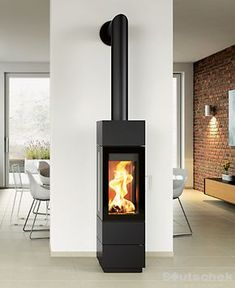 Log Burner Fireplace, Wood Burner, Brick Fireplace, Modern Fireplace, Living Room With Fireplace, Wood Burning Logs, Modern Stoves, Freestanding Fireplace, Interior Exterior