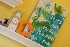 Little Bit Funky: 40 ideas - Number 2 - Messy Fun Art -- stickers on canvas, let kids make a mess with paint, peel stickers off