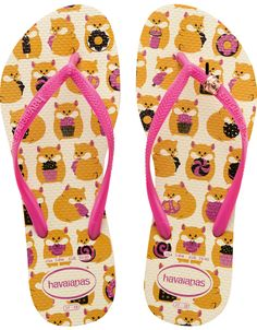 Some furry friends make an appearance on the Slim Pets flip flop. Choose from an adorable hamster, raccoon, French bulldog or kitten print on our comfortable signature textured footbed. Wrap metal embellishments on slim straps complete this fun look. Thong style with slingback strap Cushioned footbed with textured rice pattern and rubber flip flop sole Made in Brazil