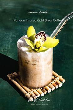 Cold Brew Pandan Infused Coffee - Rezel Kealoha - besa me - Filipino desserts Filipino Desserts, Filipino Recipes, Filipino Food, Egg Coffee, Coffee Menu, Vegan Pastries, Matcha Cake, Pizza Special, Boston Cream Pie