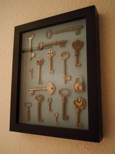 A shadow box is perfect for showing off vintage keys.