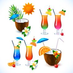 Coconut and cocktails vector graphics 01 free Drinks Logo, Wine Drinks, Cocktail Drinks, Beverages, Coconut Vector, Cocktails Vector, Fruit Splash, Food Clips, Food Illustrations