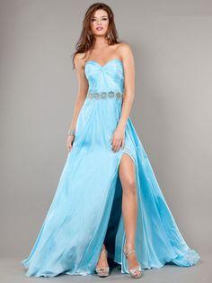 A-line Sweetheart Chiffon Floor-length Sleeveless Split Front Prom Dresses at pickedone.com