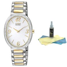 Citizen EX1224-58A Women's Allura Eco Drive Diamond Accent Bezel Two Tone Bracelet Watch with 30ml Ultimate Watch Cleaning Kit