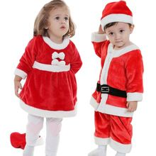 2016 New Children Suit Baby Boys Girls Christmas Jumpsuit Girls Dress + Hat 2PCs Set Girls Christmas Dress Kids Boys Clothing(China (Mainland))
