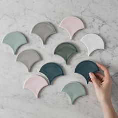 Which colour would you pick? Blush Bathroom, Oakland House, Indoor Outdoor Bathroom, Fish Scale Tile, Marina Blue, Pink Fish, Laundry Room Inspiration, Grey Tiles, Fish Scales
