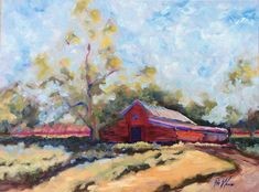 """America Homeland by Pat Warren Oil ~ 18 inches x 24 inches-Red Barn, Farm Landscape Fine Art Painting """"America Homeland"""" by Georgia Artist Red Barn, Farm Landscape Fine Art Painting"""