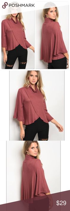 Bell sleeve waffle knit top 🇺🇸 Cinnamon waffle knit top features a mock neckline, 3/4 length bell sleeves, and a tulip front. So soft! 96% rayon 4% spandex. Made in USA. Tops