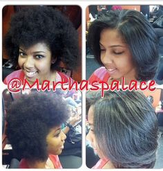 Before and after Dominican Blow Out! No chemicals used ! The beauty of natural hair. Styled at Martha's Palace in Memphis TN