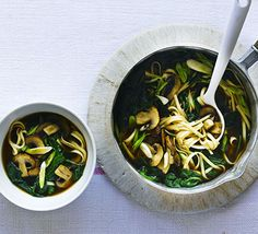 A Japanese-inspired teriyaki udon broth with chestnut mushrooms and spinach. A nourishing and light supper