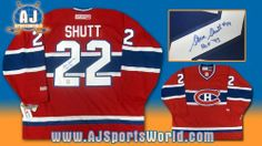 STEVE SHUTT Montreal Canadiens SIGNED Hockey JERSEY . $350.55. This is an official licensed SIGNED Steve Shutt Montreal Canadiens jersey. The jersey is brand new with all of the lettering and numbering professionally sewn on. The player has beautifully signed the number. To protect your investment, a Certificate Of Authenticity and tamper evident hologram from A.J. Sports World is included with your purchase.
