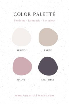 Feminine, romantic, luxurious purple color palette made by Creative Systers. Purple Color Schemes, Purple Color Palettes, Colour Pallette, Color Combos, Website Color Palette, Website Color Schemes, Color Inspiration, Brand Inspiration, Design Seeds