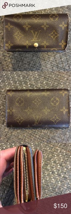 Louis Vuitton, medium wallet Pre-loved, canvas is in good condition, but edges show wear, zipper doesn't zip but could easily be repaired at any LV store. I never put coins in it so the zipper never bothered me. Overall a good wallet, could use a little TLC Louis Vuitton Bags Wallets