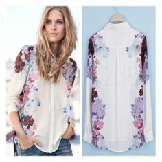 Vintage New Fashion Womens Chiffon Floral Print T Shirt Blouse Long Sleeve Tops