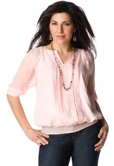 Petite Clip Dot Solid Lined Blouse - Christopher & Banks  Love it. It's very breezy and comfortable.