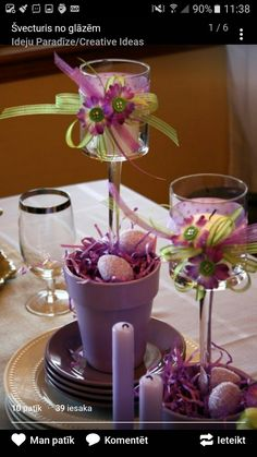 Candle centerpieces are certainly expected for an Easter Luncheon.but how creative you can get with ordinary items will make the differenc. Spring Crafts, Holiday Crafts, Holiday Decorations, Table Decorations, Diy Ostern, Deco Floral, Candle Centerpieces, Easter Centerpiece, Purple Centerpiece