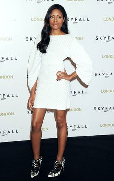 beautiful winter white Chanel cocktail frock. On, and those shoes are fierce! Naomie Harris - New Bond girl.
