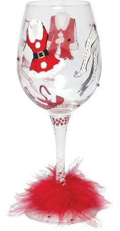 """Hot Mama Claus"" Wine Glass by Lolita- Santa's Staying Home! (Hula Island)"