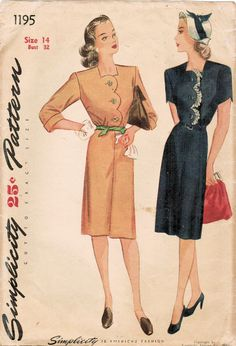 Vintage 1944 Simplicity 1195 Sewing Pattern Misses' Dress Size 14 Bust 32