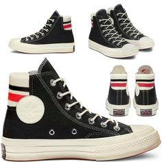 CONVERSE ORIGINAL CT HI 1970s RETRO STRIP - BLACK/SEDONA.RED/EGRET (WOOL) Converse Chuck Taylor, Me Too Shoes, 1970s, High Top Sneakers, Wool, The Originals, Retro, Closet, Black