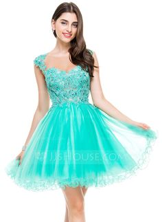 [£95.00] A-Line/Princess Sweetheart Short/Mini Tulle Homecoming Dress With Beading Appliques Lace Sequins