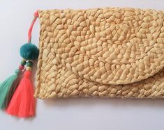 Etsy :: Your place to buy and sell all things handmade Pom Pom Clutch, Pom Pom Trim, Envelope Clutch, Clutch Purse, Create Yourself, Etsy, Unique Gifts, Buy And Sell, Gift Wrapping