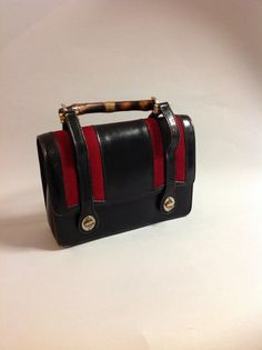 85e7d9de56b630 GUCCI authentic 60s 70s navy/black stripe leather bamboo handbag. Gucci  BagsGucci HandbagsVintage ...