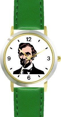 President Abraham Lincoln American Theme - WATCHBUDDY® DELUXE TWO-TONE THEME WATCH - Arabic Numbers - Green Leather Strap-Children's Size-Small ( Boy's Size & Girl's Size ) WatchBuddy. $49.95