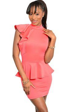 Mock Neckline Peplum Coral Dress