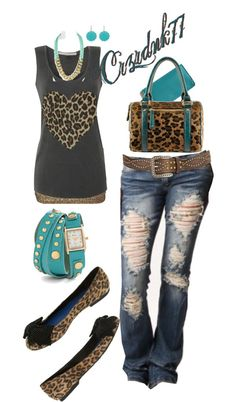 """Cheetah And Aqua"" by crzrdnk77 on Polyvore  want everything but the shoes. needs black or the blue pumps!"