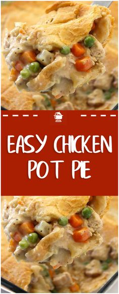 Turn leftover chicken or turkey into the ultimate comfort food in just 30 minute. - Turn leftover chicken or turkey into the ultimate comfort food in just 30 minutes. Our cream of chi - Easy Pie Recipes, Easy Chicken Recipes, Cooking Recipes, Chicken Pop Pie, Healthy Chicken Pot Pie, Recipe Tips, Chicken Pot Pie Recipe Using Cream Of Chicken Soup, Chicken Pot Pie Recipe Using Bisquick, Dinner Recipes