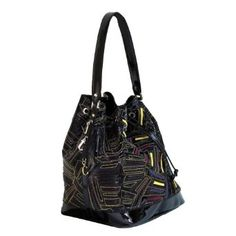 Versace Jeans Couture VJC E1VABB19 Black/Multicolor Embroidery Drawstring Bucket Bag