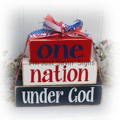 Items similar to One Nation Under God Itty Bitty Stacking Wood Blocks on Etsy Fourth Of July Decor, 4th Of July Decorations, 4th Of July Party, July 4th, 4th Of July Ideas, Americana Decorations, Birthday Decorations, Americana Crafts, Patriotic Crafts