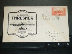 USS THRESHER SS-200 Naval Cover 1940 LAUNCH Cachet GROTON, CONN