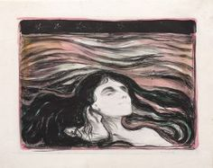 Edvard Munch, Lovers in the Waves, 1896. Hand-colored lithograph,Guggenheim NYC