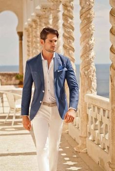 Guys CAN wear white pants and still look masculine. Tom James.