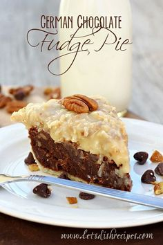 German Chocolate Fudge Pie | A rich, dense, version of your favorite chocolate cake served up in a pie crust, complete with homemade coconut pecan frosting,